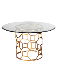 pompöser, runder Esstisch mit Glasplatte und goldenem Fuß im antiken Stil