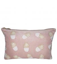 altrosa Tasche mit Ananas Stickerei und goldenem Reisverschluss