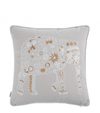 hellgraues Kissen mit gold-weißer Elefanten-Stickerei