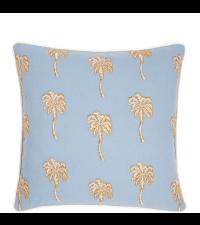 blaues Dekokissen mit goldenen Palmen-Stickmuster