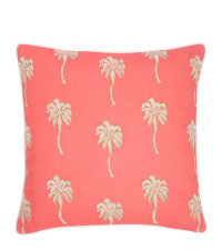 Korallfarbenes Kissen mit Palmen-Stickerei
