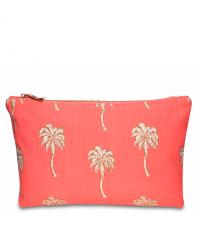 korallfarbenes Täschchen mit goldenen Palmen-Muster