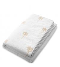 weiße Tagesdecke mit feiner Palmen Stickerei