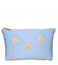 Kleines hellblaues Baumwoll-Täschchen mit goldenem Palmenmuster
