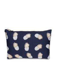 Kleine dunkelblaue Tasche mit goldenem Ananasmuster