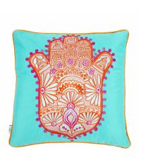 türkises Kissen mit orangenem 'Hand der Fatima' Motiv