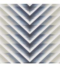 Tapete mit Zick-Zack Muster, mit dem Farbverlauf mitternachtsblau, weiß und beige