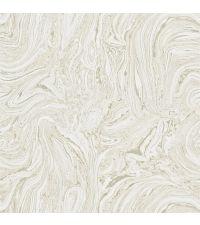 leicht schimmernde Tapete in Marmor-Optik, beige mit silbernen Akzenten