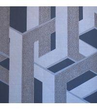 Tapete im Urban Link Style in den Farben grau, dunkelblau und metallisch grau