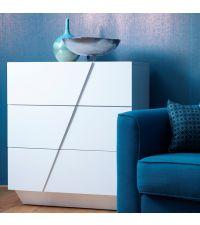 moderne Kommode Hochglanz weiß mit drei Schubladen