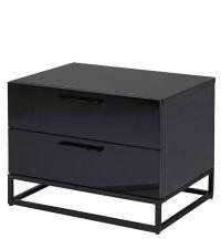 moderner Nachttisch, Nachtkästchen Hochglanz schwarz mit zwei Laden