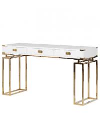 moderner Schreibtisch matt weiß mit goldenen Füßen & Beschlägen