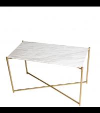 hoher Couchtisch mit weißem Marmorfinish & gekreuzten Tischbeinen, gold