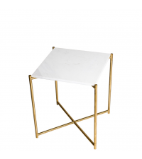 kleiner Beistelltisch mit weißem Marmorfinish und goldenen gekreuzten Tischbeinen