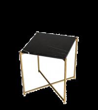 kleiner Beistelltisch mit schwarzem Marmorfinish und goldenen gekreuzten Tischbeinen