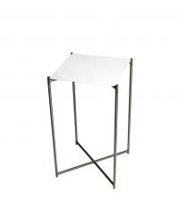 hoher Beistelltisch mit weißem Marmorfinish und anthrazit-farbenen gekreuzten Tischbeinen