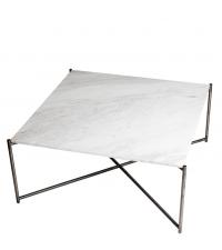 großer quadratischer Couchtisch mit weißem Marmorfinish & gekreuzten Tischbeinen anthrazit