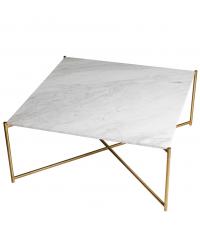großer quadratischer Couchtisch mit weißem Marmorfinish & goldenen gekreuzten Tischbeinen