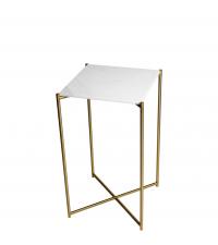 hoher Beistelltisch mit weißem Marmorfinish und gold-farbenen gekreuzten Tischbeinen
