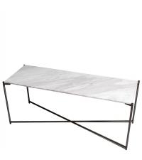 Sideboard mit weißem Marmorfinish und anthrazit-farbenen gekreuzten Beinen