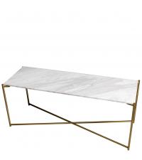 Sideboard mit weißem Marmorfinish und gold-farbenen gekreuzten Beinen