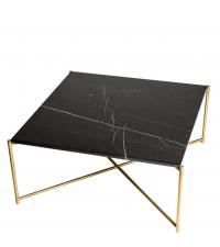 großer quadratischer Couchtisch mit schwarzem Marmorfinish & goldenen gekreuzten Tischbeinen