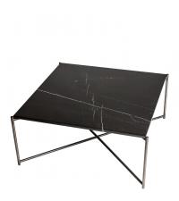 großer quadratischer Couchtisch mit schwarzem Marmorfinish & anthrazit-farbenen gekreuzten Tischbeinen