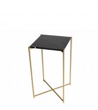 hoher Beistelltisch mit schwarzem Marmorfinish und gold-farbenen gekreuzten Tischbeinen