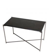 hoher Couchtisch mit schwarzem Marmorfinish & gekreuzten Tischbeinen matt-anthrazit