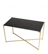 hoher Couchtisch mit schwarzem Marmorfinish & gekreuzten Tischbeinen gold