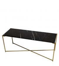 Sideboard mit schwarzem Marmorfinish und gold-farbenen gekreuzten Beinen