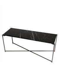 Sideboard mit schwarzem Marmorfinish und anthrazit-farbenen gekreuzten Beinen