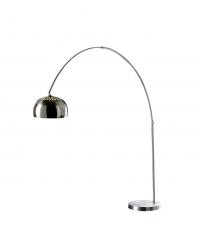 hohe, moderne Stehlampe mit 5 kleinen Lampenschirmen aus Metall mit Chromeffekt