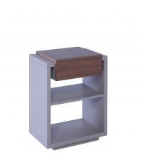 moderner Beistelltisch oder Nachttisch Zürich matt grau & Nussbaumfurnier mit einer Lade