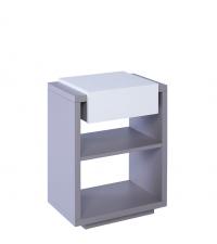 moderner Beistelltisch oder Nachttisch Zürich matt grau & weiß mit einer Lade
