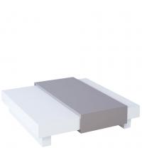 moderner flacher Couchtisch Zürich matt weiß & grau mit verstecktem Fach