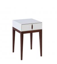 eleganter Nachttisch Roma im Retro-Style mit einer Lade weiß