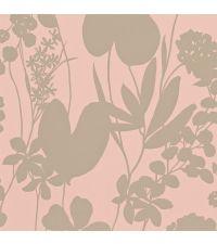 schimmernde Tapete mit floraler Musterung, Hintergrund altrosa matt und metallisch goldenes Muster