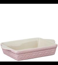 Auflaufform aus Ton Ofenform mit Herzen rechteckig rosa