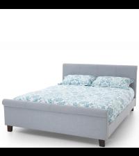 Polsterbett mit hohem Betthaupt und Fußende in Leinen blaugrau