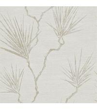 Vinyltapete mit Palmenblättern und strukturierter Oberfläche, beige mit silberfarbene Fäden