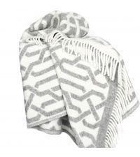 kuschelig weiche Wolldecke mit geometrischem Muster, Wendedecke grau & naturweiß