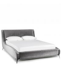 luxuriöses Samtbett Polsterbett mit weichem Samtbezug & Chromfüßen silber