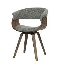 Essplatzstuhl im Retro-Style mit Armlehnen mit Tweed-Bezug, Sitzschale aus Holz