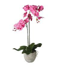 hohe, künstliche Orchidee in grauem Topf, pink