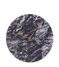 runde Marmor-Wanduhr in schwarz mit goldenen Zeigern