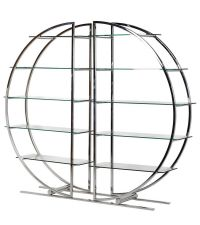großes Bücherregal in runder Form aus Chrom mit Glasböden