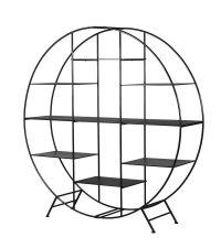 modernes, rundes Bücherregal aus Metall, schwarz