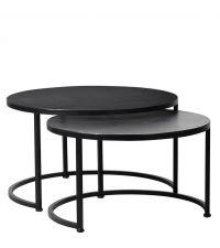 2er-Set runde Couchtische aus schwarzem Metall