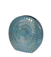 schmale, runde Keramikvase mit Struktur, türkis
